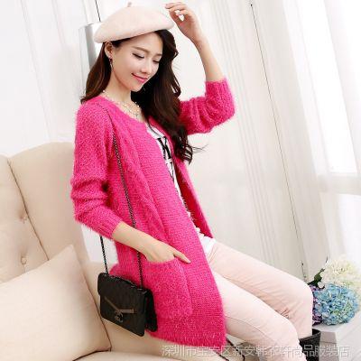2014韩版秋装新款马海毛麻花中长款毛衣开衫针织衫 女