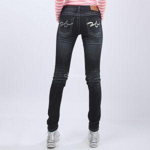供应牛仔裤秋冬新款压皱个性显瘦女式牛仔铅笔小脚裤 有大码