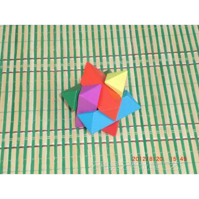 供应木制玩具 本色 彩色海洋之星 益智菱角球 古典益智孔明锁系列