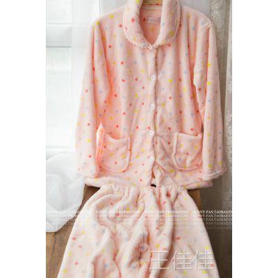 出口订单超好手感秋冬新款女士加厚法兰绒睡衣家居服套装