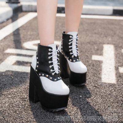 欧美外贸新款 2016新款女靴 秋冬潮鞋超高跟厚底松糕短靴马丁靴
