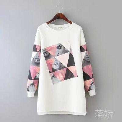 2015春季新款圆领长袖中长款创意贴布韩版通勤女时尚T恤百搭卫衣