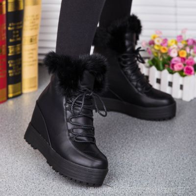 2015春款新款短靴女靴兔毛靴真皮前拉链马丁靴女鞋棉鞋防水台靴子