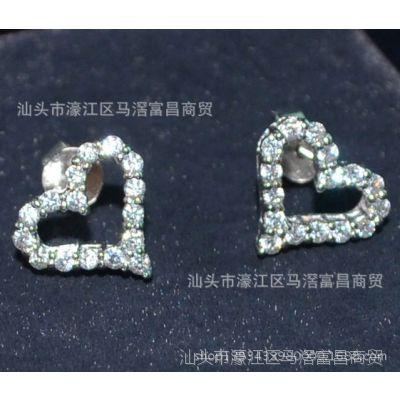 明星同款精致爱心镂空耳钉经典百搭925银饰品一件代发