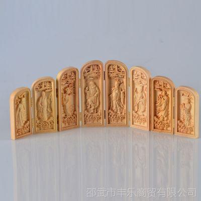 黄杨木八面摆件 八仙过海造型木质摆件 艺术摆件 工艺品批发
