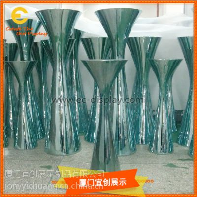 商场DP布置玻璃钢电镀柱桌