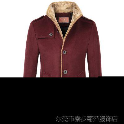 供应英伦风休闲男装 精品品牌男式风衣 羊羔毛领子立领秋冬外套