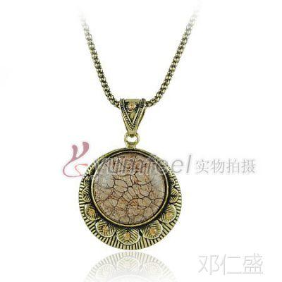 N1194 朋克风饰品 欧美项链 复古镶宝石圆牌长款毛衣链 印度饰品