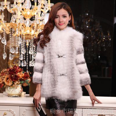 冬季中长款皮草外套 女士 欧美品牌大气狐狸毛拼接水貂长袖皮草