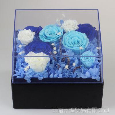 批发花艺制品保鲜花玫瑰花礼盒永生花特卖爱心保鲜花透明方形礼盒