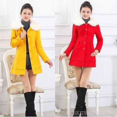 2014冬季新款女装韩版修身显瘦呢子风衣中长款毛呢外套百搭大衣女