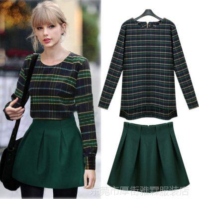 欧美新潮款2015长袖高端街拍女装圆领套头格子衫短裙套装批发