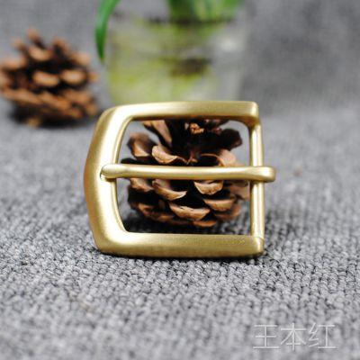 Z8植鞣革皮带扣铜扣 纯铜手工皮带扣头 纯黄铜皮带扣男士腰带针扣