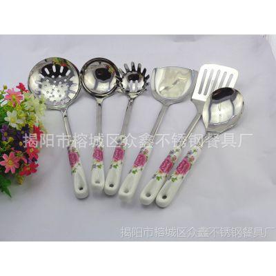 供应不锈钢厨具六件套 创意韩国陶瓷柄厨具 勺铲套装 厨房用品