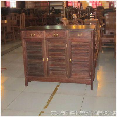 老挝大红酸枝鞋柜 红酸枝三抽三开门鞋柜 红木客厅家具 老料 生磨