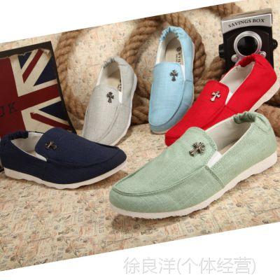 英伦风休闲帆布鞋男式布鞋一脚蹬懒人鞋夏季豆豆鞋一件代发