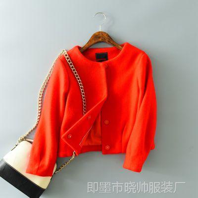 016秋冬装新款 韩版修身小香风时尚毛呢外套女气质短款呢子大衣