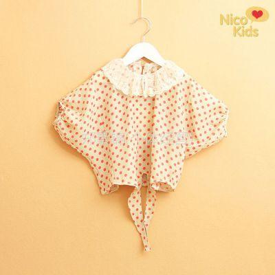 供应外贸童装 女儿童短袖雪纺圆点燕尾蝙蝠衫 娃娃衫 童T恤J01-161A02