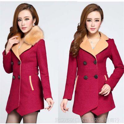 2014新款毛呢外套 韩版修身大毛领加厚呢子大衣 冬季防寒女风衣