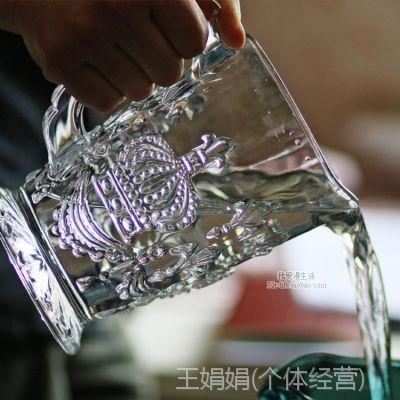 zakka外贸 欧式波旁王朝复古浮雕皇冠玻璃冷水壶 果汁壶 啤酒壶