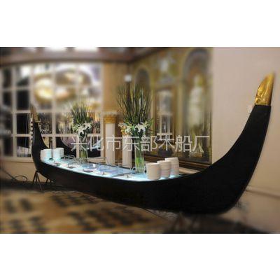 厂家出售酒店房地产装饰木船,欧式贡多拉道具船