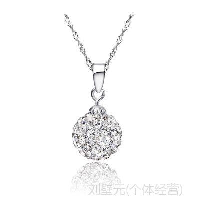 批发925纯银项链 女 韩版时尚短款 纯银吊坠锁骨链 闪亮钻银项链