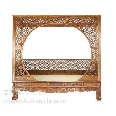 供应唐岚红木家具月洞式门罩架子床