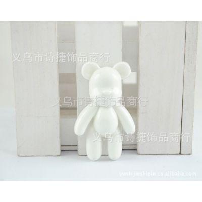 供应批发 树脂暴力熊  DIY平底树脂材料小熊  手机贴钻公仔 纯白小熊