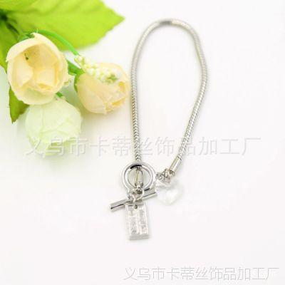 银色蛇链水晶桃心时尚手链