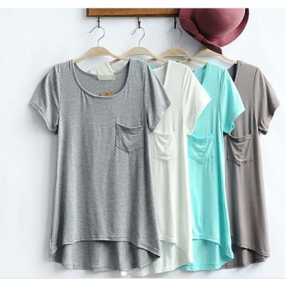 供应13年夏季爆款女装 韩版莫代尔女式T恤 口袋装饰圆领短袖T恤