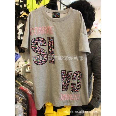 供应韩国进口代购批发女装新款个性潮字母休闲女式T恤短袖打底衫 2A09