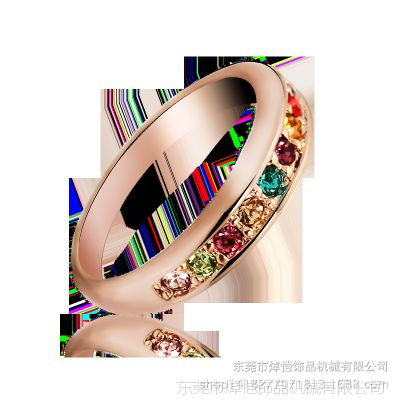 锌合金压铸指环 多彩镶锆石戒指 韩版款宝石戒