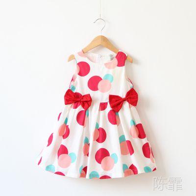 1536外贸童装  女童  双蝴蝶结彩色大圆圈公主连衣裙 Y0412-3