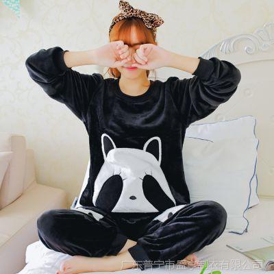 2016秋冬季加厚法兰绒睡衣女可爱卡通黑色熊猫卫衣睡衣 6606