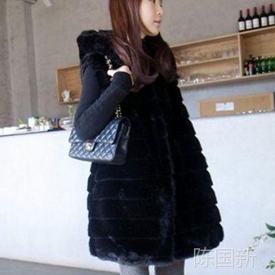 韩国女装2014新款 仿皮草背心马夹 中长款马甲外套 长款毛毛外套