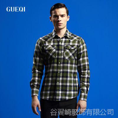 GUEQI1688备货 纯棉免烫格子衫供应 气质英伦潮 长袖男衬衫厂家