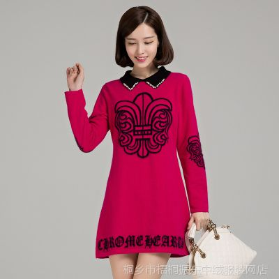 2014秋冬新款女式貂绒衫 娃娃领中长款大码风格针织女装毛衣裙