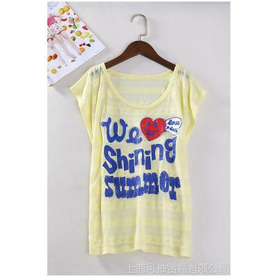 日韩外贸原单批发尾货出口成衣夏季女装蝙蝠袖烂花T恤有大码D525