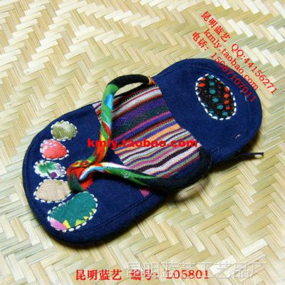 拼布拖鞋包 拖鞋手拿包 民族布艺拖鞋包 人字拖鞋包