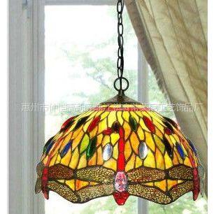 供应12寸蒂凡尼蜻蜓吊灯 彩玻灯具暖黄 餐厅吊灯 高档家居艺术装
