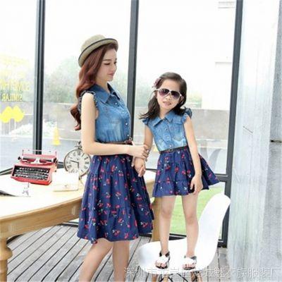 2015款韩版时尚女童裙子新款夏季亲子装牛仔连衣裙 送腰带