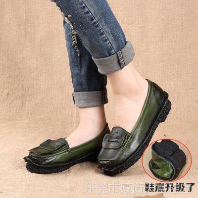 新款复古民族风纯手工平跟软底真牛皮休闲单鞋 蝴蝶结透气女鞋