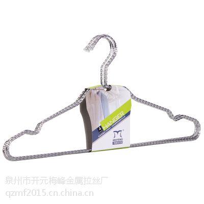 厂家直销批发电镀铁线麻花实心防滑衣架服装店展示金属衣架