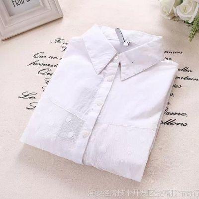2015春季到来了森系女款新款翻领宽松大码单排扣套头纯色白衬衫