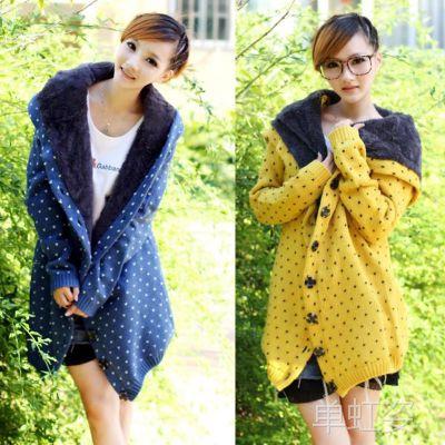 批发韩版 冬季加厚点点爱心长款毛衣女装毛衣开衫宽松毛衣外套