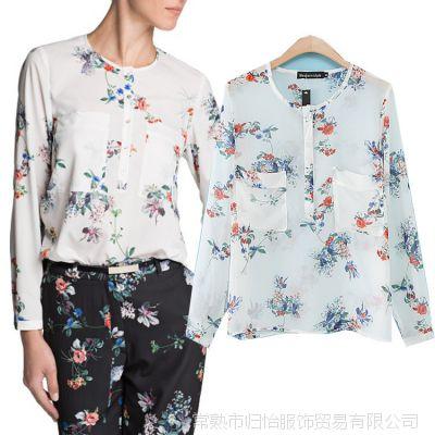 2014年春季新款 双口袋彩色花纹印花轻薄女衬衫