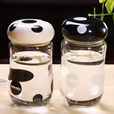 玻璃蘑菇杯 蘑菇饮料瓶定制LOGO
