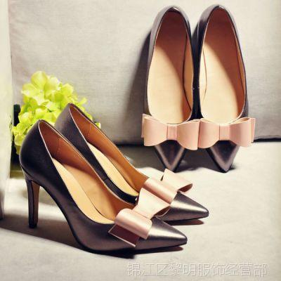 欧美明星同款金属羊皮蝴蝶结尖头细跟高跟鞋优雅女人味真皮女鞋