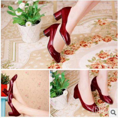 2014新款品牌女鞋粗跟舒适百搭工作鞋外贸真皮单鞋【免费加盟】