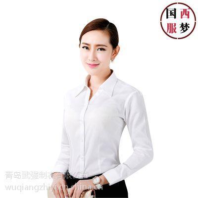 青岛女式衬衫|城阳衬衫工作服订制|职业装条纹修身衬衫